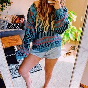 Vtg boho Aztec hippie v neck retro sweater p10